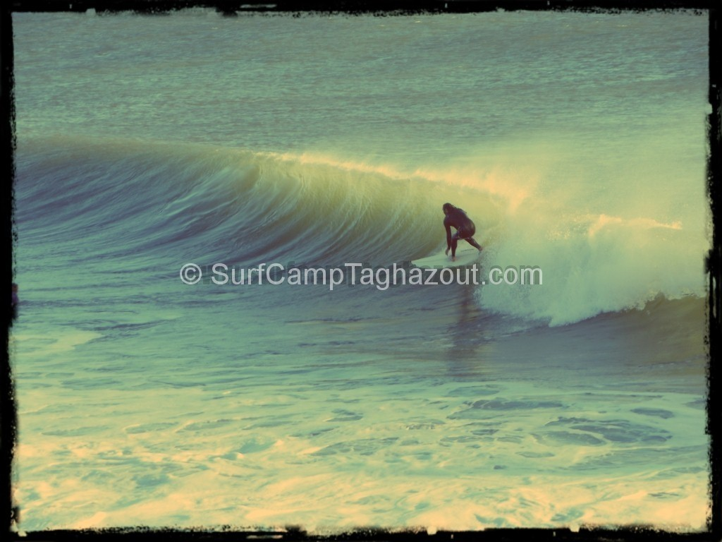 Kris surfing Morocco's surf spot Boilers