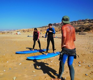 Surf lessons in the beach