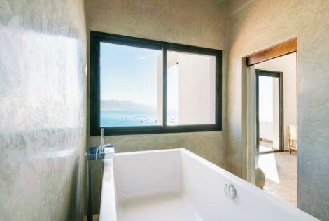 Imsouane villa suite luxury room bathroom tub with view of imsouane bay